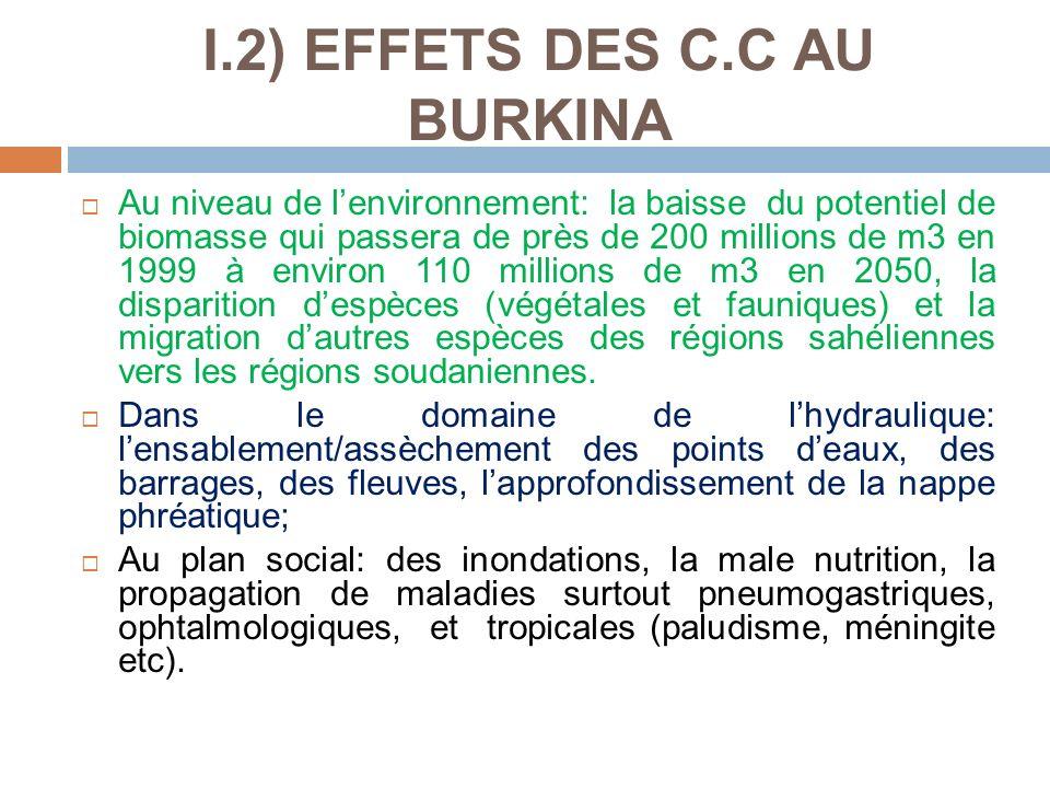 I.2) EFFETS DES C.C AU BURKINA Au niveau de lenvironnement: la baisse du potentiel de biomasse qui passera de près de 200 millions de m3 en 1999 à env