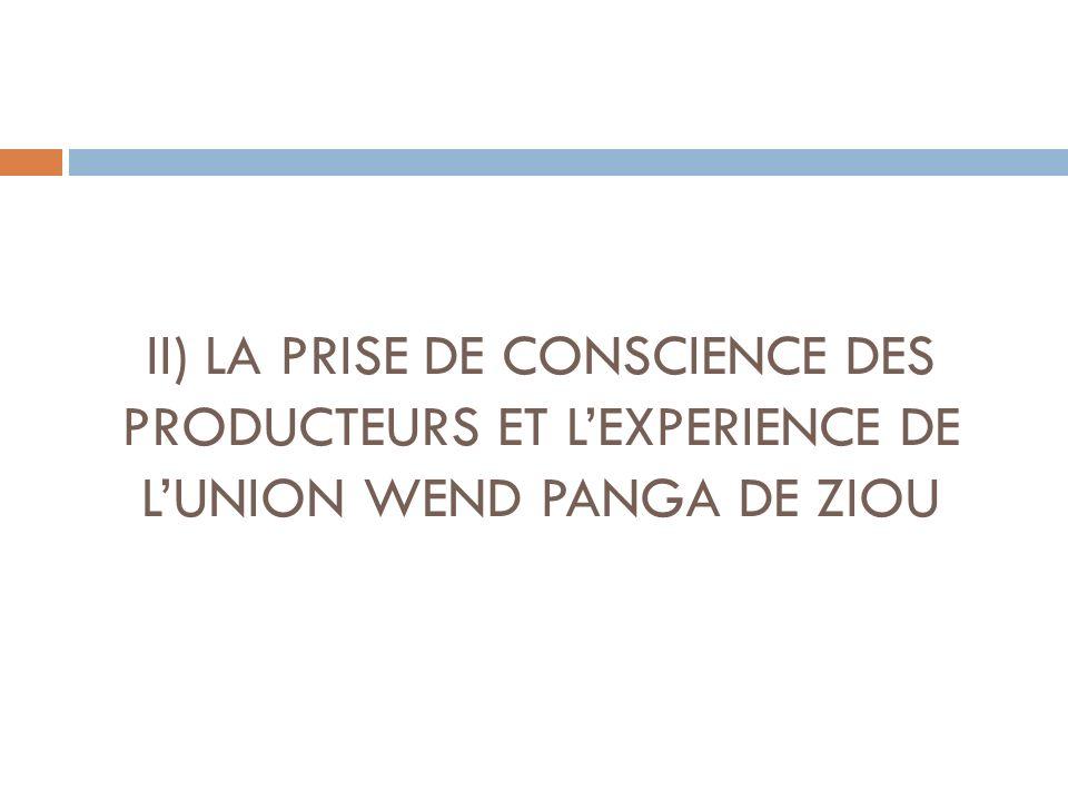 II) LA PRISE DE CONSCIENCE DES PRODUCTEURS ET LEXPERIENCE DE LUNION WEND PANGA DE ZIOU
