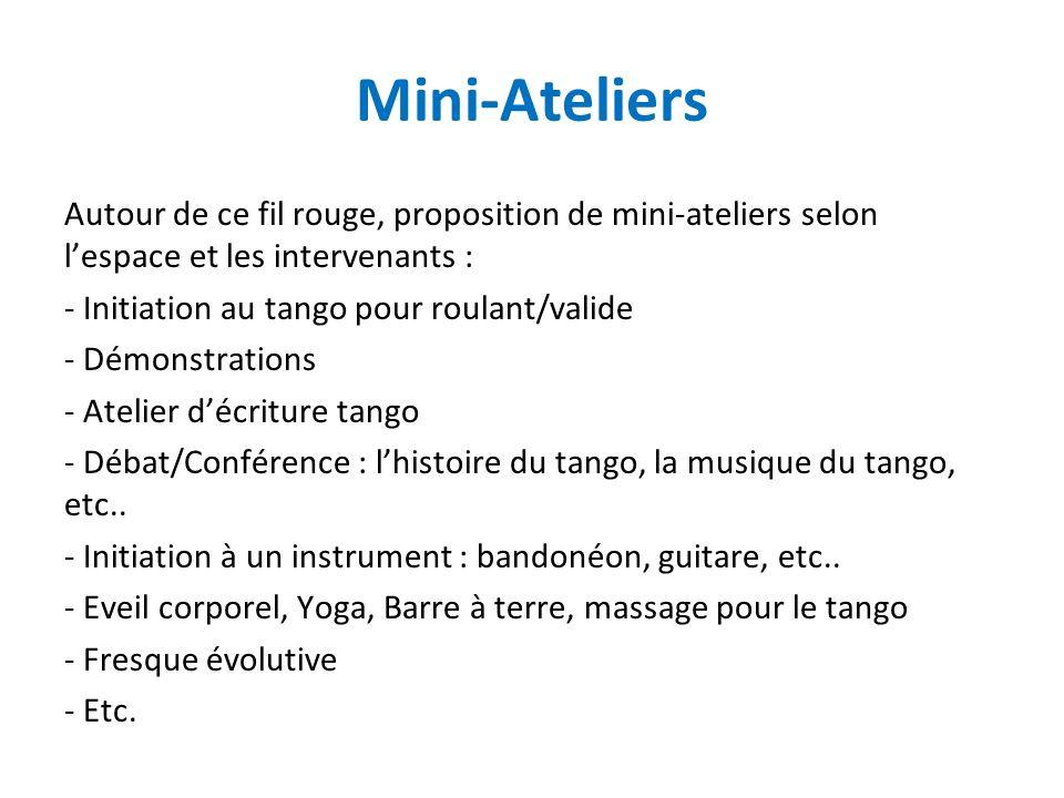 Mini-Ateliers Autour de ce fil rouge, proposition de mini-ateliers selon lespace et les intervenants : - Initiation au tango pour roulant/valide - Dém