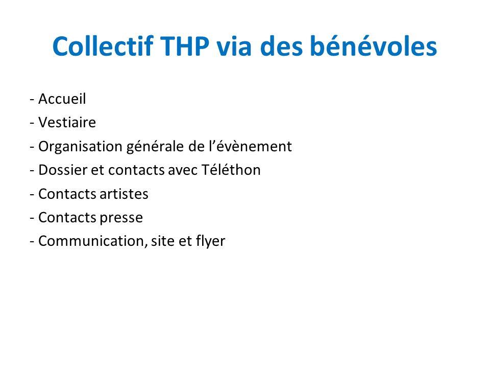 Collectif THP via des bénévoles - Accueil - Vestiaire - Organisation générale de lévènement - Dossier et contacts avec Téléthon - Contacts artistes - Contacts presse - Communication, site et flyer