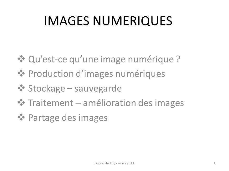 IMAGES NUMERIQUES Quest-ce quune image numérique ? Production dimages numériques Stockage – sauvegarde Traitement – amélioration des images Partage de