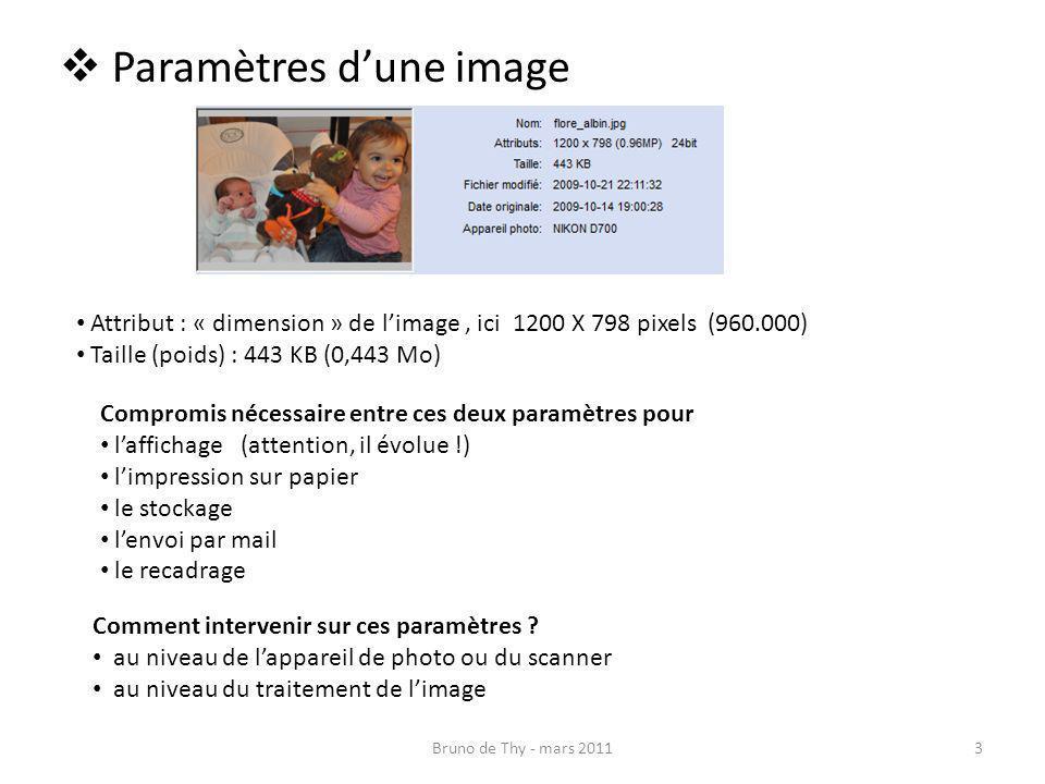 Paramètres dune image Attribut : « dimension » de limage, ici 1200 X 798 pixels (960.000) Taille (poids) : 443 KB (0,443 Mo) Compromis nécessaire entr