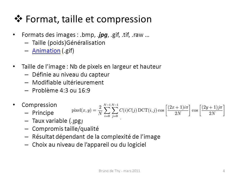 Formats des images :.bmp,.jpg,.gif,.tif,.raw … – Taille (poids)Généralisation – Animation (.gif) Animation Taille de limage : Nb de pixels en largeur
