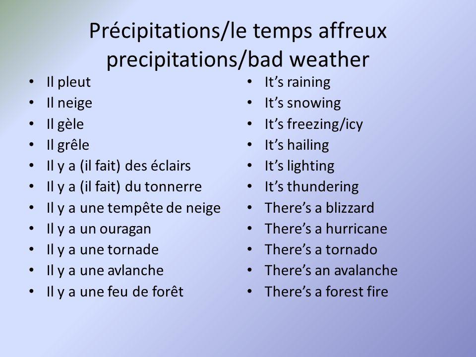 Other weather terms Chance of ___ A Thunderstorm A little cloudy Its dry Its tropical Une chance de ___ Un orage Il fait un peu nuageux Il fait sec Il fait tropical