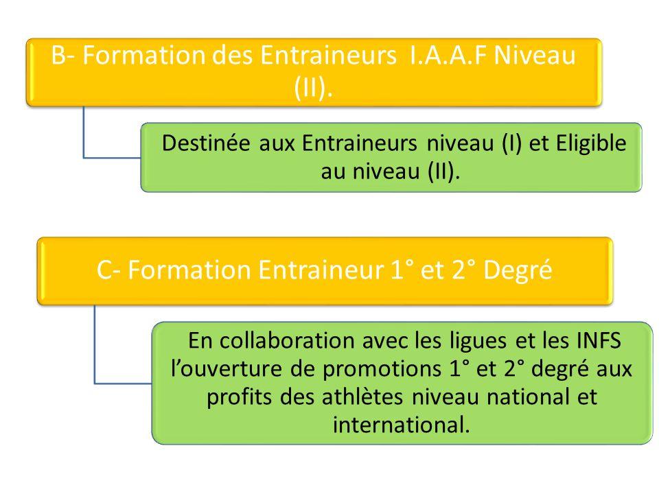 B- Formation des Entraineurs I.A.A.F Niveau (II). Destinée aux Entraineurs niveau (I) et Eligible au niveau (II). C- Formation Entraineur 1° et 2° Deg
