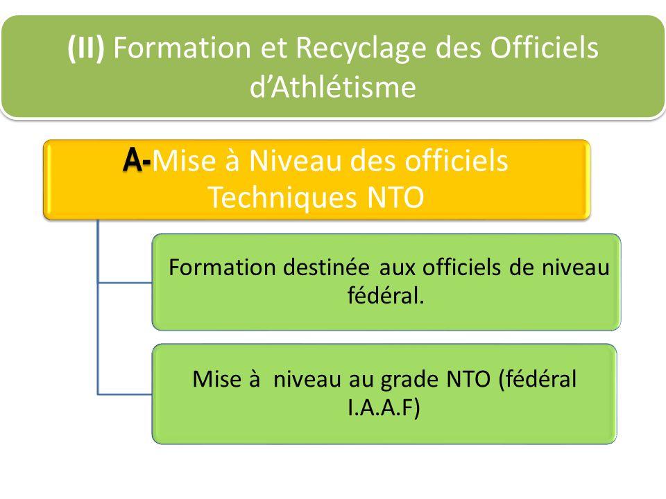 A- A- Mise à Niveau des officiels Techniques NTO Formation destinée aux officiels de niveau fédéral. Mise à niveau au grade NTO (fédéral I.A.A.F) (II)