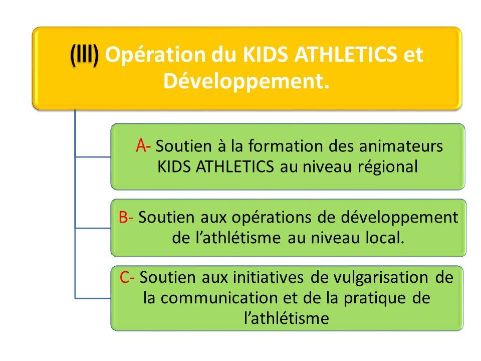(III) (III) Opération du KIDS ATHLETICS et Développement. A- Soutien à la formation des animateurs KIDS ATHLETICS au niveau régional B- Soutien aux op