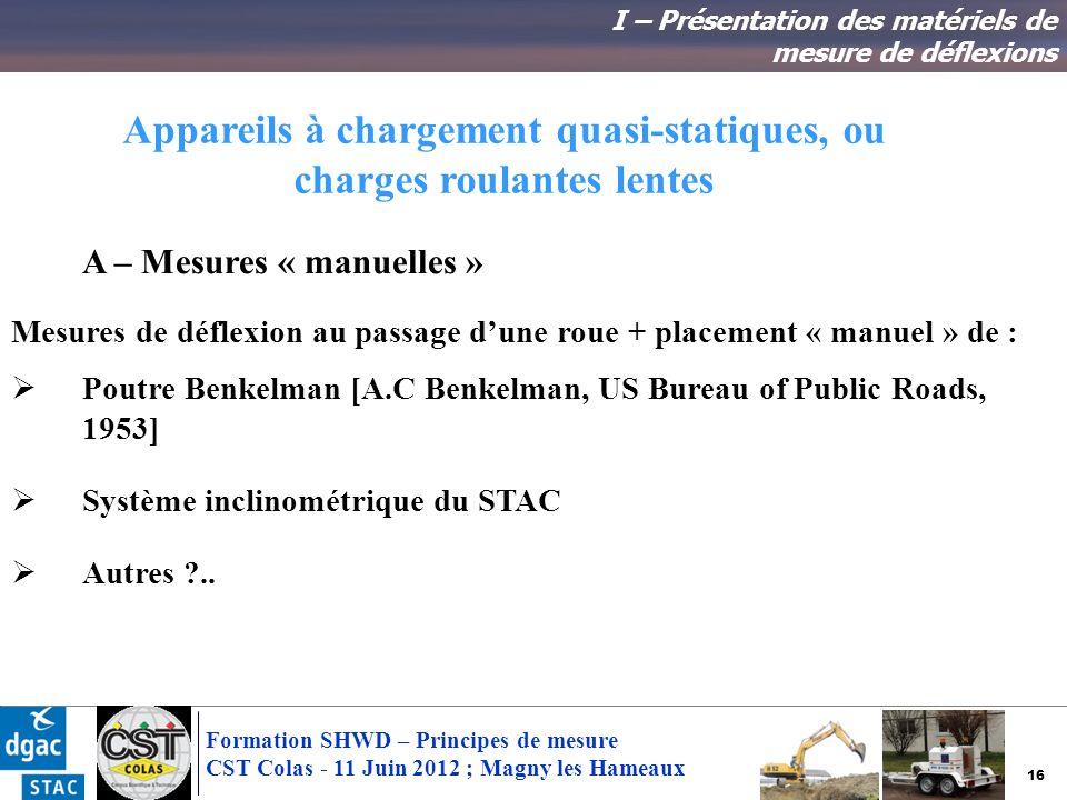 16 Formation SHWD – Principes de mesure CST Colas - 11 Juin 2012 ; Magny les Hameaux Appareils à chargement quasi-statiques, ou charges roulantes lent