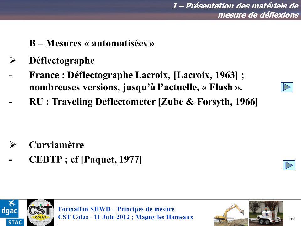 19 Formation SHWD – Principes de mesure CST Colas - 11 Juin 2012 ; Magny les Hameaux B – Mesures « automatisées » Déflectographe -France : Déflectogra