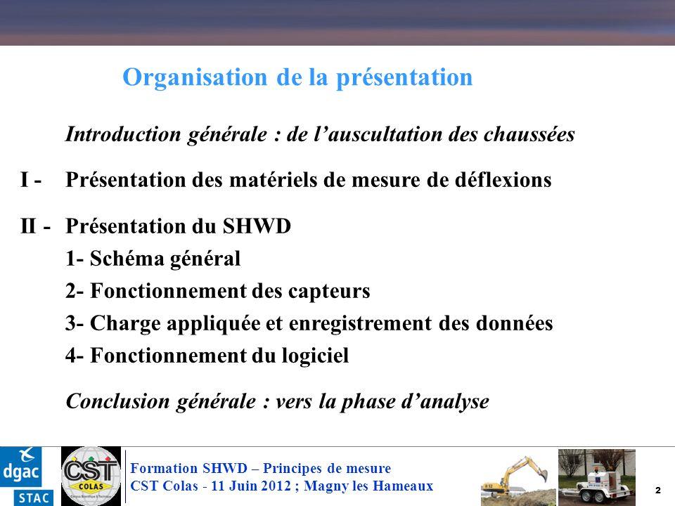 3 Formation SHWD – Principes de mesure CST Colas - 11 Juin 2012 ; Magny les Hameaux Introduction générale : de lauscultation des chaussées I - Présentation des matériels de mesure de déflexions II -Présentation du SHWD 1- Schéma général 2- Fonctionnement des capteurs 3- Charge appliquée et enregistrement des données 4- Fonctionnement du logiciel Conclusion générale : vers la phase danalyse Organisation de la présentation