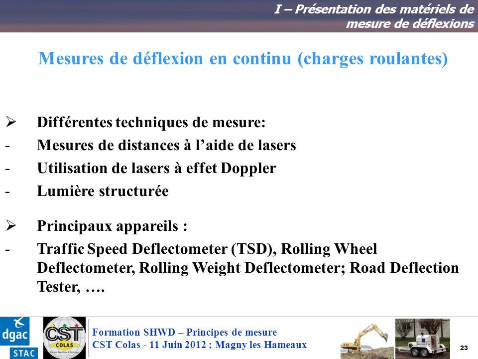 23 Formation SHWD – Principes de mesure CST Colas - 11 Juin 2012 ; Magny les Hameaux Mesures de déflexion en continu (charges roulantes) Différentes t