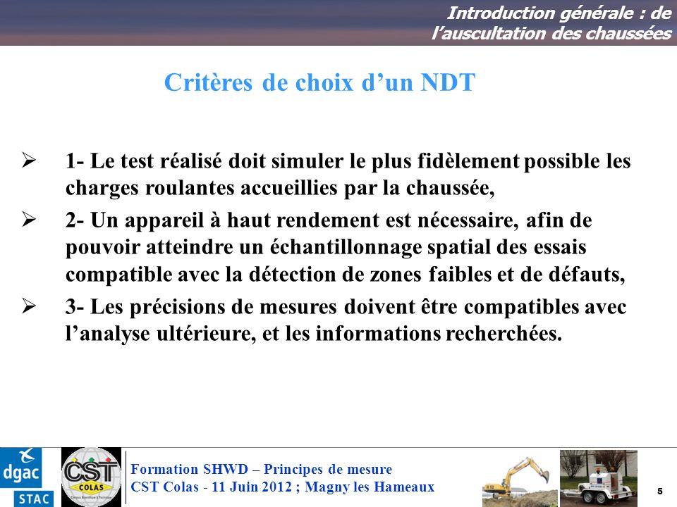 5 Formation SHWD – Principes de mesure CST Colas - 11 Juin 2012 ; Magny les Hameaux Critères de choix dun NDT Introduction générale : de lauscultation