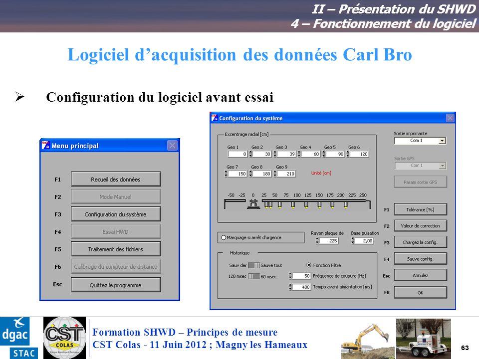 63 Formation SHWD – Principes de mesure CST Colas - 11 Juin 2012 ; Magny les Hameaux Logiciel dacquisition des données Carl Bro II – Présentation du S