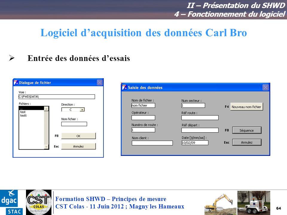 64 Formation SHWD – Principes de mesure CST Colas - 11 Juin 2012 ; Magny les Hameaux Logiciel dacquisition des données Carl Bro II – Présentation du S