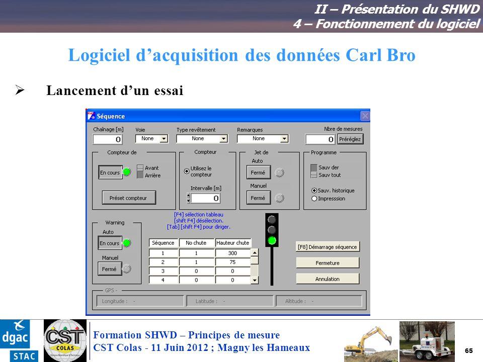 65 Formation SHWD – Principes de mesure CST Colas - 11 Juin 2012 ; Magny les Hameaux Logiciel dacquisition des données Carl Bro II – Présentation du S