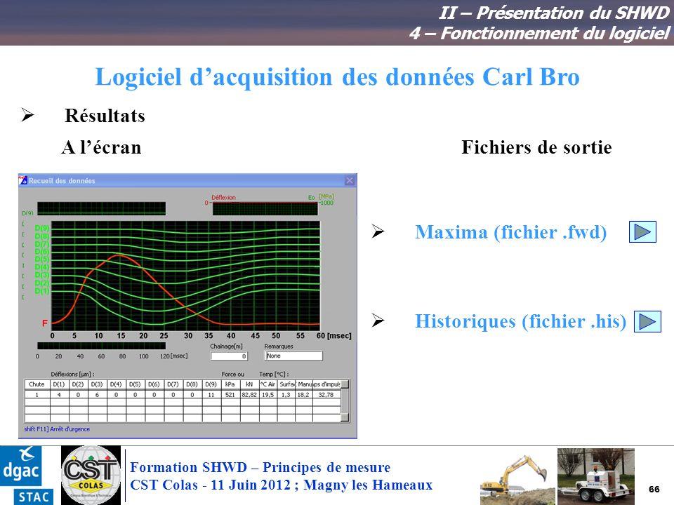 66 Formation SHWD – Principes de mesure CST Colas - 11 Juin 2012 ; Magny les Hameaux Logiciel dacquisition des données Carl Bro II – Présentation du S