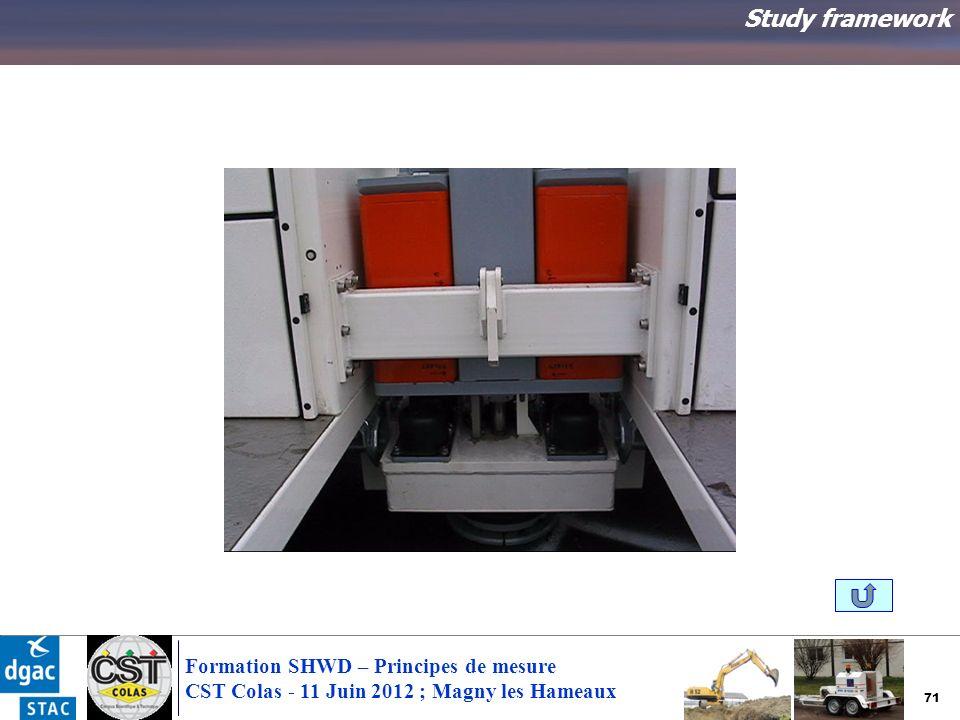 71 Formation SHWD – Principes de mesure CST Colas - 11 Juin 2012 ; Magny les Hameaux Study framework