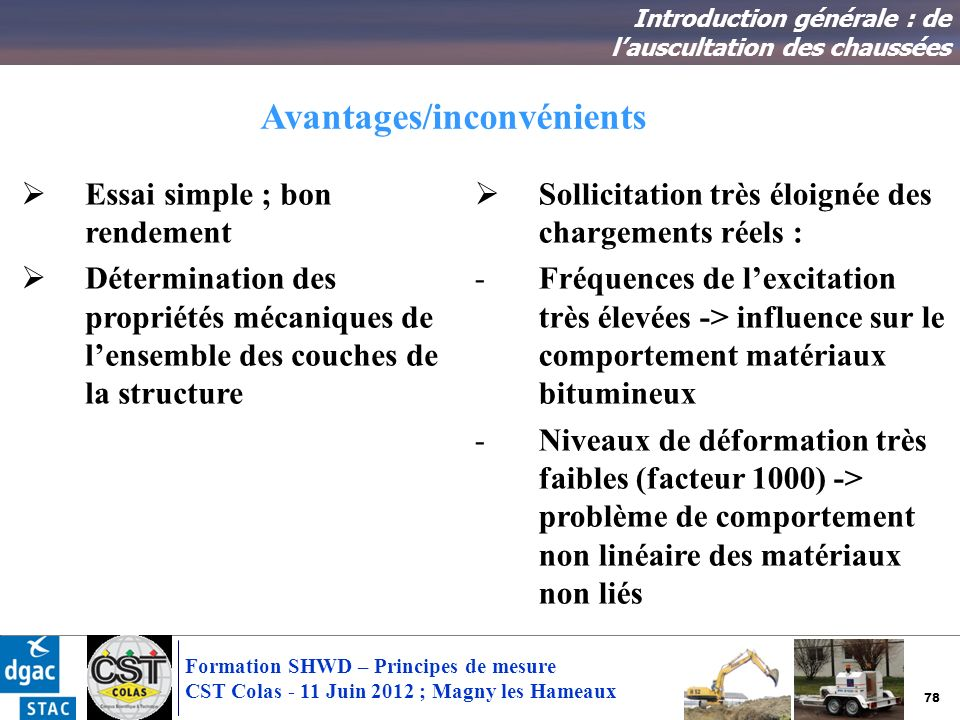 78 Formation SHWD – Principes de mesure CST Colas - 11 Juin 2012 ; Magny les Hameaux Avantages/inconvénients Introduction générale : de lauscultation