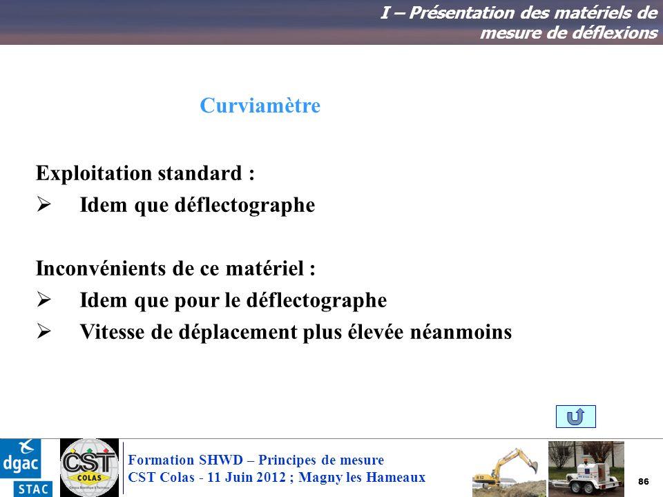 86 Formation SHWD – Principes de mesure CST Colas - 11 Juin 2012 ; Magny les Hameaux I – Présentation des matériels de mesure de déflexions Exploitati