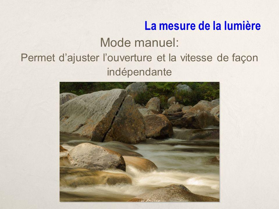 La mesure de la lumière Mode manuel: Permet dajuster louverture et la vitesse de façon indépendante