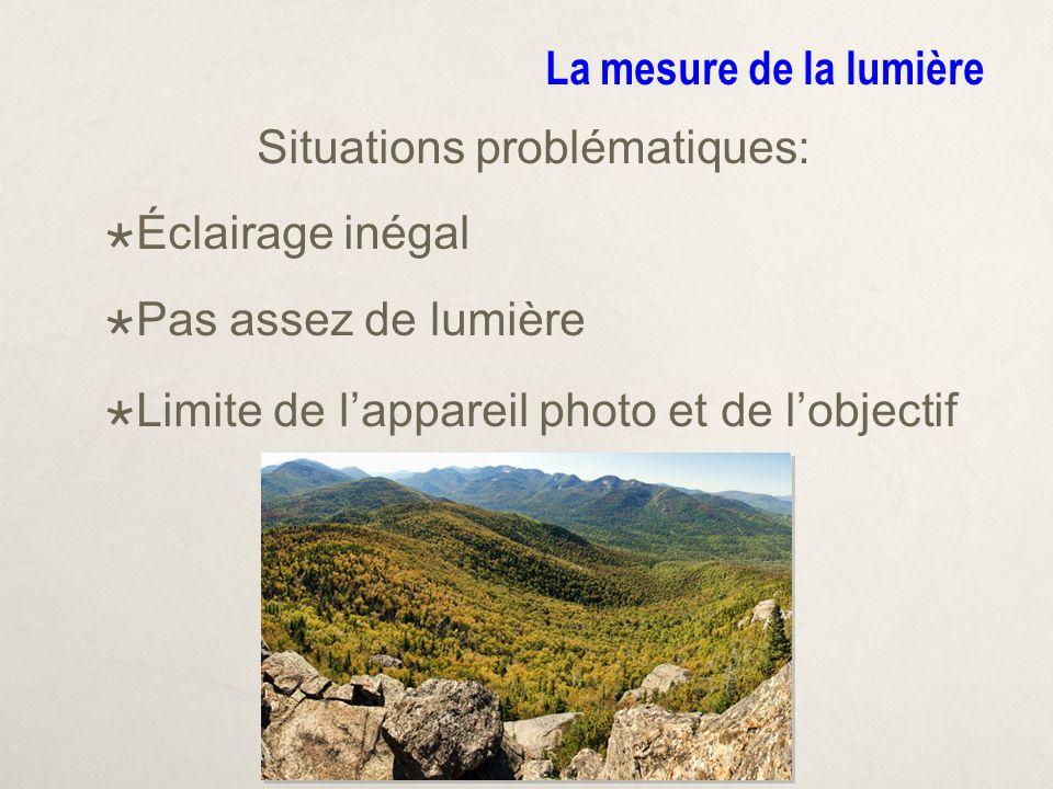 La mesure de la lumière Situations problématiques: Éclairage inégal Pas assez de lumière Limite de lappareil photo et de lobjectif