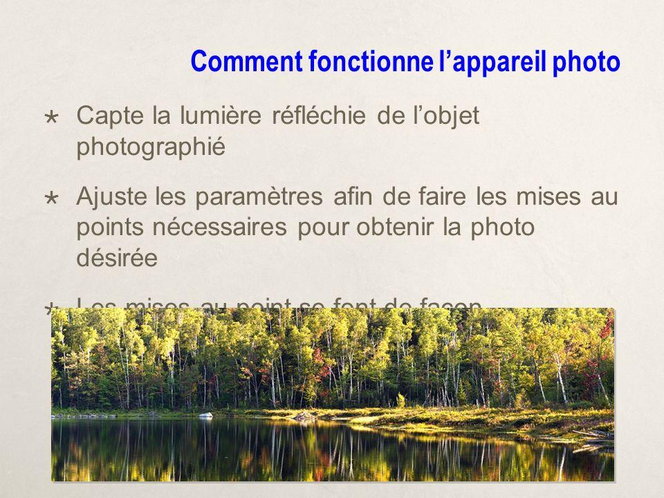 Comment fonctionne lappareil photo Capte la lumière réfléchie de lobjet photographié Ajuste les paramètres afin de faire les mises au points nécessaires pour obtenir la photo désirée Les mises au point se font de façon automatique ou manuelle