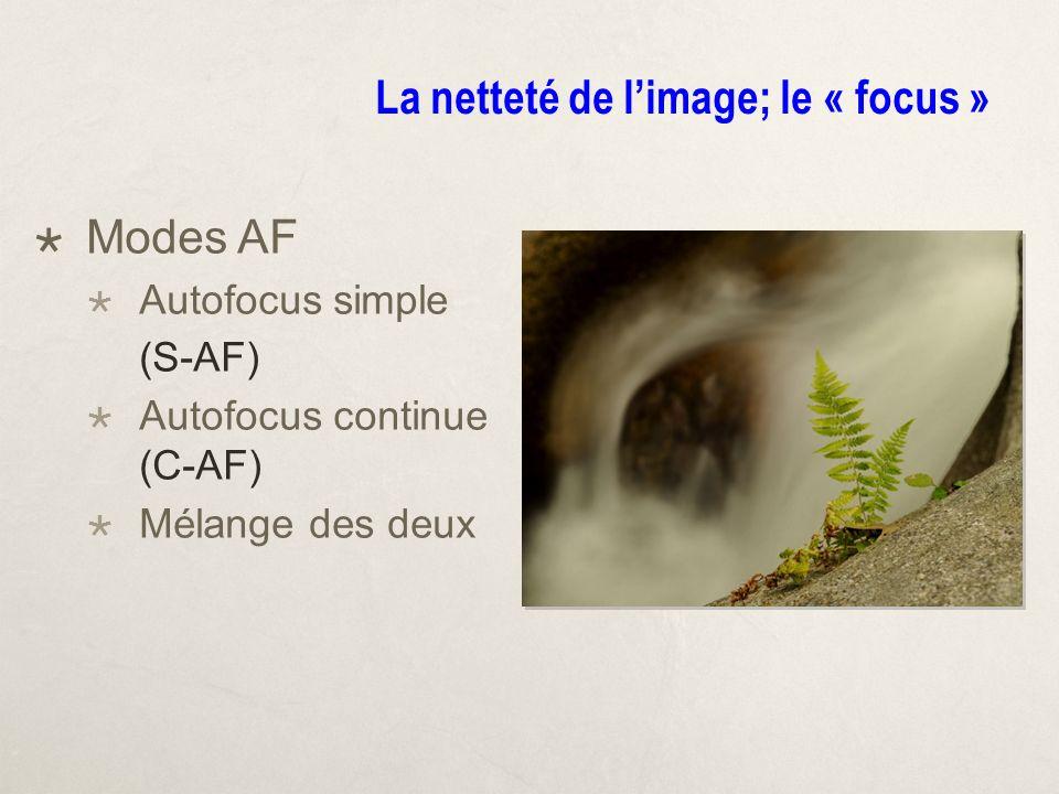 La netteté de limage; le « focus » Modes AF Autofocus simple (S-AF) Autofocus continue (C-AF) Mélange des deux