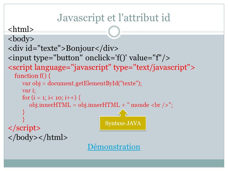 Javascript et l'attribut id Bonjour function f() { var obj = document.getElementById(