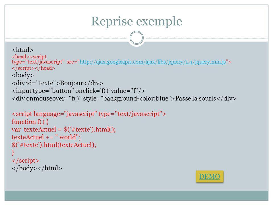 Reprise exemple http://ajax.googleapis.com/ajax/libs/jquery/1.4/jquery.min.js Bonjour Passe la souris function f() { var texteActuel = $('#texte').htm
