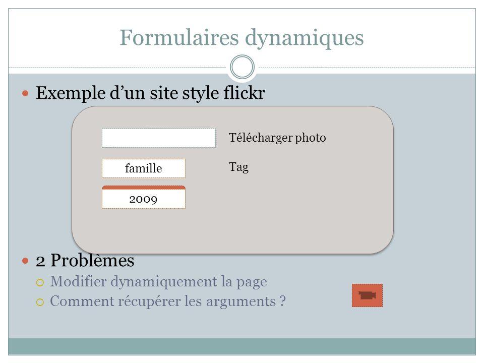 Formulaires dynamiques Exemple dun site style flickr 2 Problèmes Modifier dynamiquement la page Comment récupérer les arguments ? Télécharger photo Ta