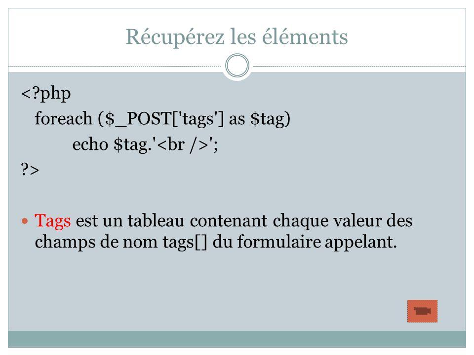Récupérez les éléments <?php foreach ($_POST['tags'] as $tag) echo $tag.' '; ?> Tags est un tableau contenant chaque valeur des champs de nom tags[] d