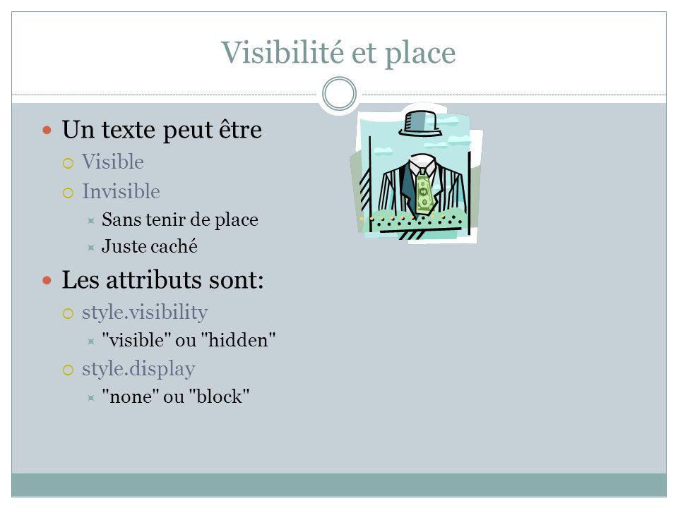 Visibilité et place Un texte peut être Visible Invisible Sans tenir de place Juste caché Les attributs sont: style.visibility