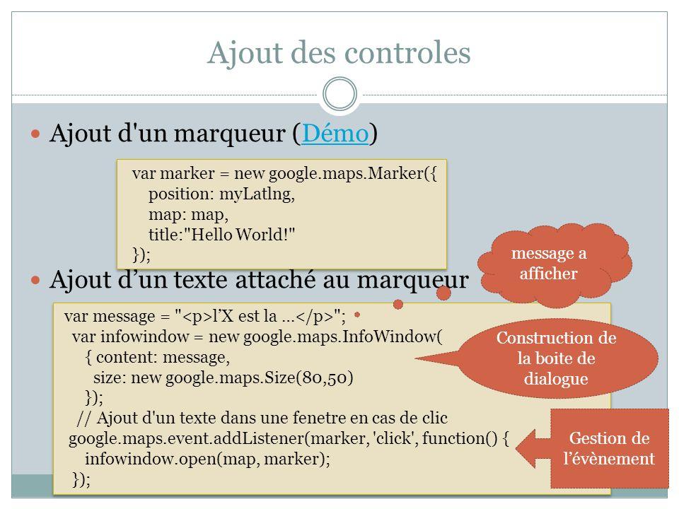 Ajout des controles Ajout d'un marqueur (Démo)Démo Ajout dun texte attaché au marqueur var marker = new google.maps.Marker({ position: myLatlng, map: