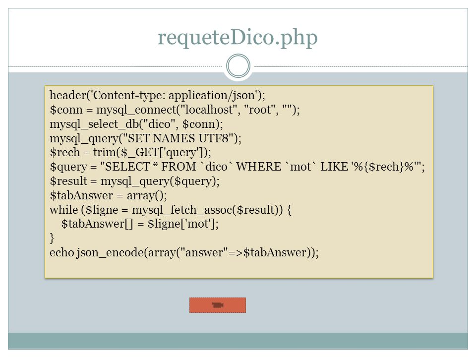 requeteDico.php header('Content-type: application/json'); $conn = mysql_connect(
