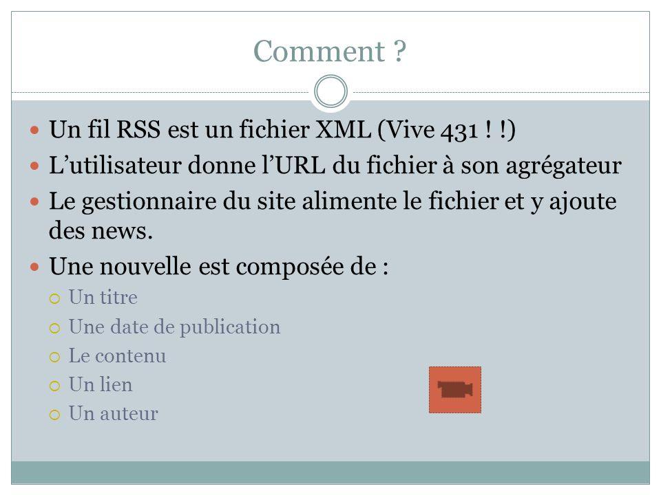 Comment ? Un fil RSS est un fichier XML (Vive 431 ! !) Lutilisateur donne lURL du fichier à son agrégateur Le gestionnaire du site alimente le fichier