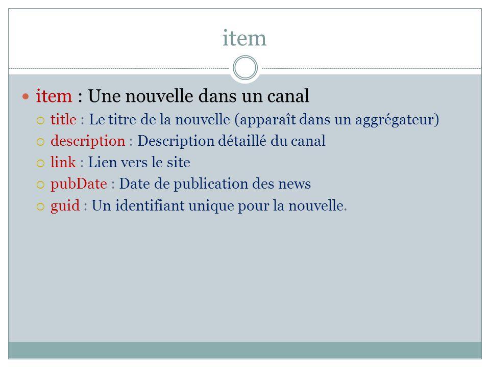 item item : Une nouvelle dans un canal title : Le titre de la nouvelle (apparaît dans un aggrégateur) description : Description détaillé du canal link