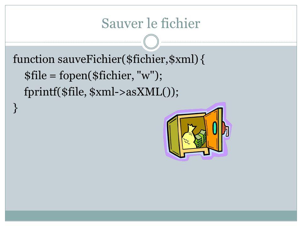 Exemple $xml = chargeFichier( news.xml ); $xml = ajouteNews($xml, A quand le cours 9 , date( today ), http://www.enseignement.polytechnique.fr/ , Google ); sauveFichier( news2.xml , $xml); afficheFichier($xml);