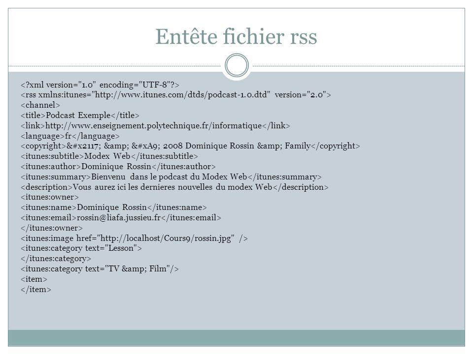 Entête fichier rss Podcast Exemple http://www.enseignement.polytechnique.fr/informatique fr ℗ & © 2008 Dominique Rossin & Family M