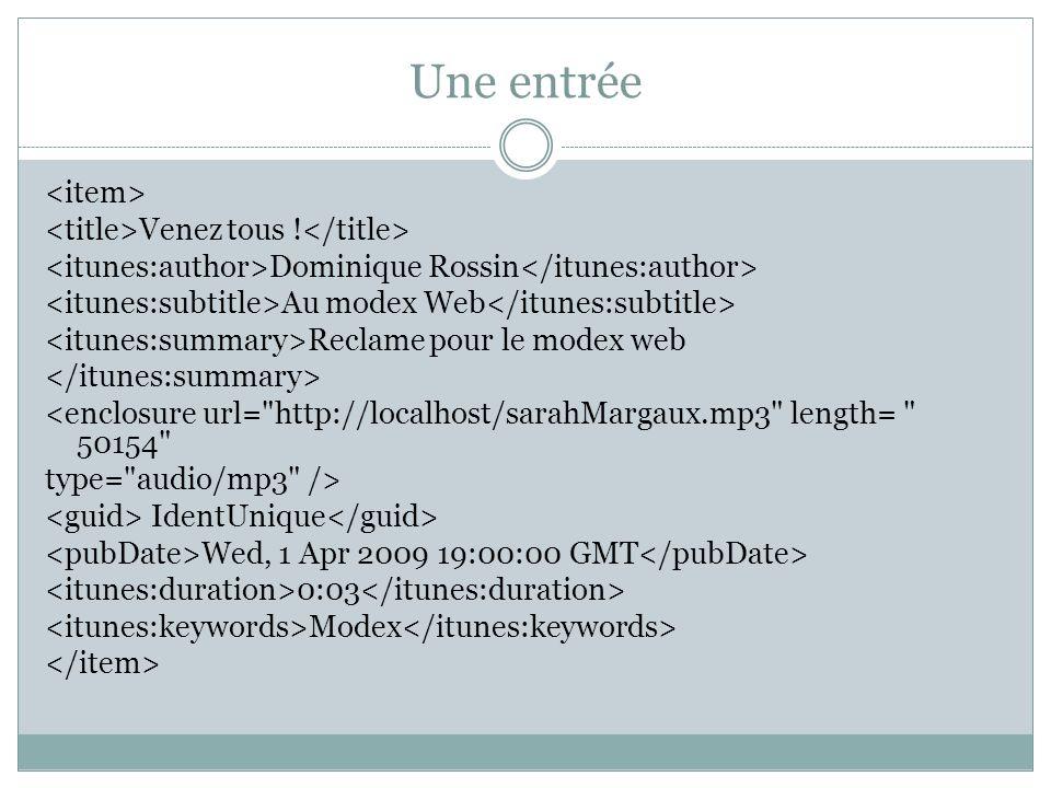 Une entrée Venez tous ! Dominique Rossin Au modex Web Reclame pour le modex web <enclosure url=