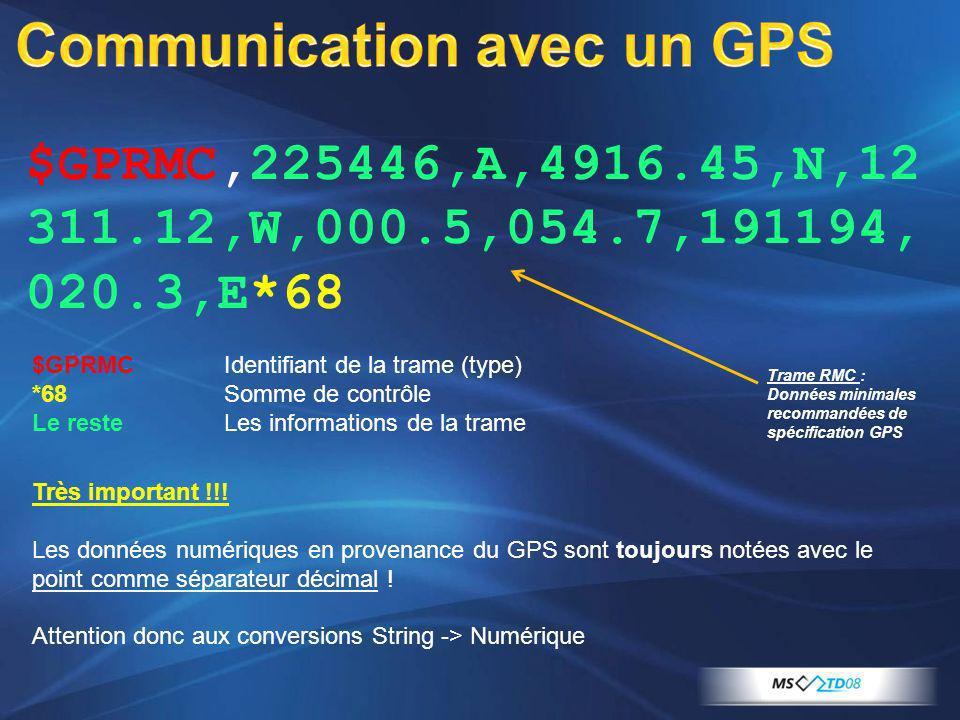 $GPRMCIdentifiant de la trame (type) *68 Somme de contrôle Le resteLes informations de la trame Très important !!! Les données numériques en provenanc