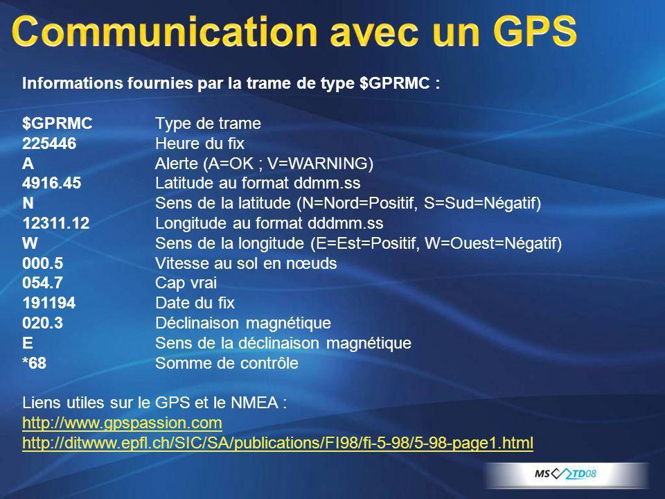 Informations fournies par la trame de type $GPRMC : $GPRMCType de trame 225446Heure du fix AAlerte (A=OK ; V=WARNING) 4916.45Latitude au format ddmm.s