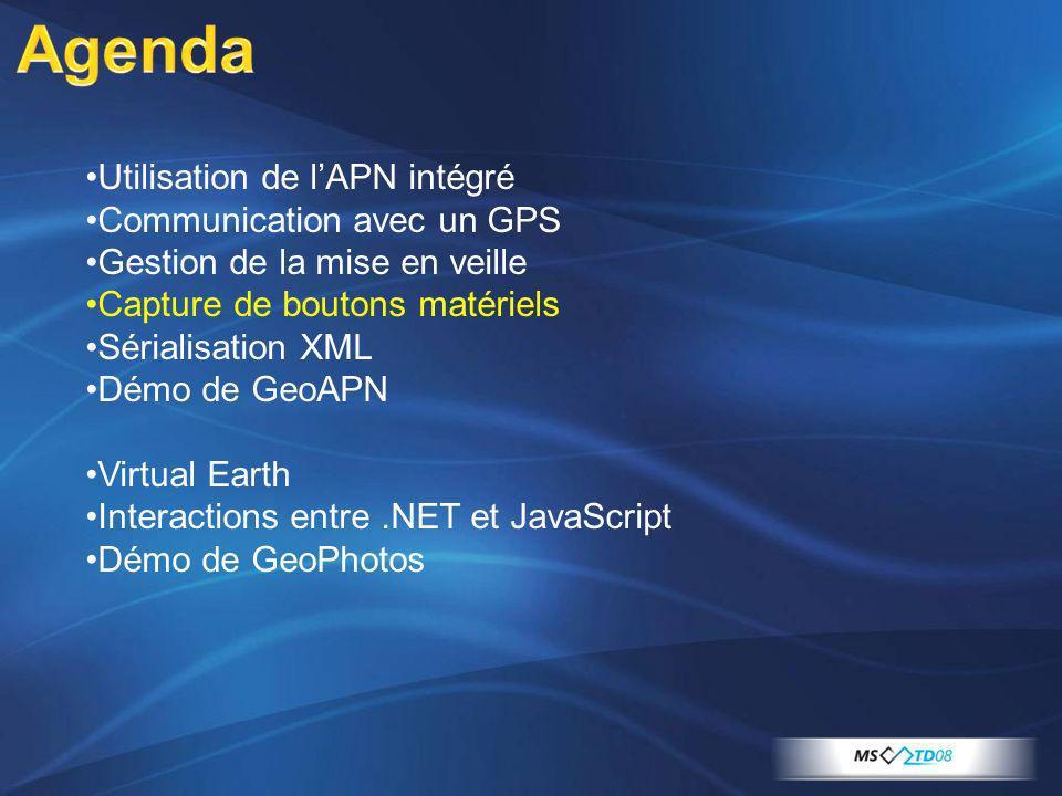Utilisation de lAPN intégré Communication avec un GPS Gestion de la mise en veille Capture de boutons matériels Sérialisation XML Démo de GeoAPN Virtu