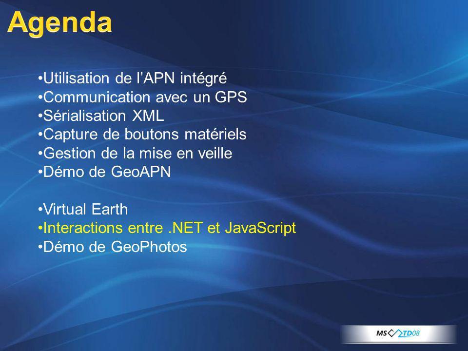 Utilisation de lAPN intégré Communication avec un GPS Sérialisation XML Capture de boutons matériels Gestion de la mise en veille Démo de GeoAPN Virtu