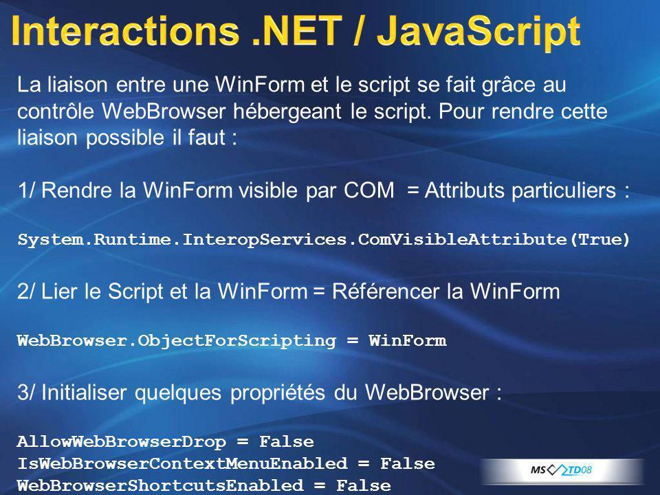 La liaison entre une WinForm et le script se fait grâce au contrôle WebBrowser hébergeant le script. Pour rendre cette liaison possible il faut : 1/ R