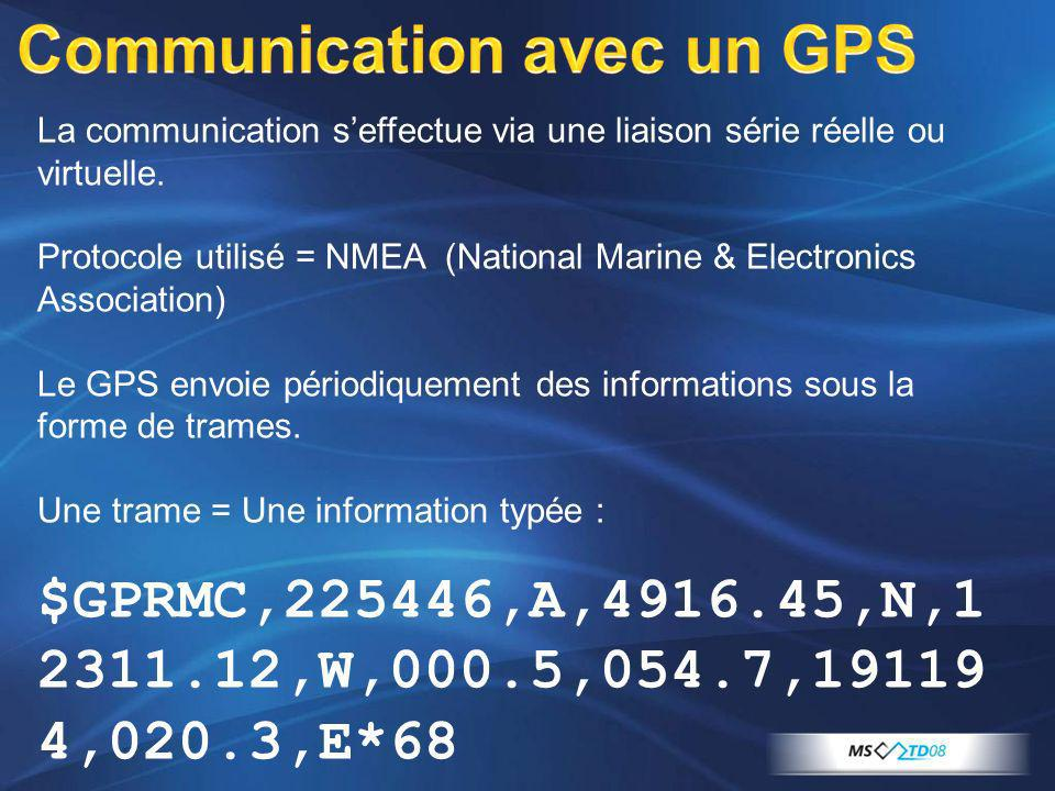La communication seffectue via une liaison série réelle ou virtuelle. Protocole utilisé = NMEA (National Marine & Electronics Association) Le GPS envo