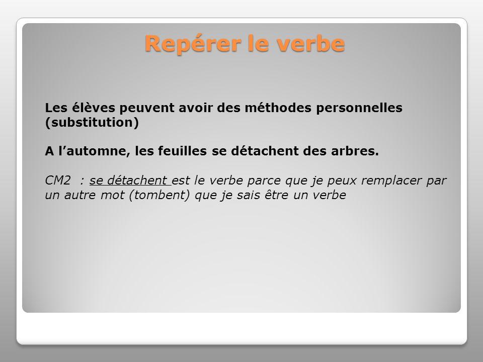 Repérer le verbe Les élèves peuvent avoir des méthodes personnelles (substitution) A lautomne, les feuilles se détachent des arbres. CM2 : se détachen