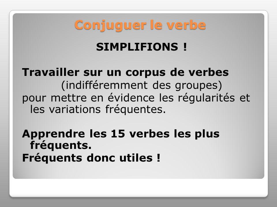 Conjuguer le verbe SIMPLIFIONS ! Travailler sur un corpus de verbes (indifféremment des groupes) pour mettre en évidence les régularités et les variat