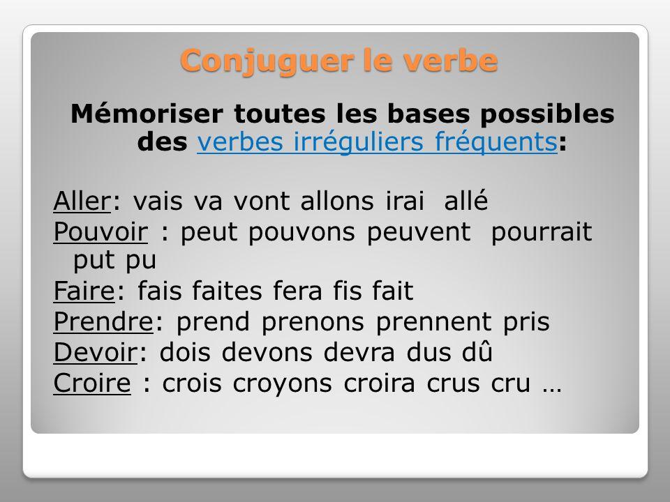 Conjuguer le verbe Mémoriser toutes les bases possibles des verbes irréguliers fréquents:verbes irréguliers fréquents Aller: vais va vont allons irai