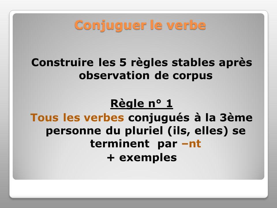 Conjuguer le verbe Construire les 5 règles stables après observation de corpus Règle n° 1 Tous les verbes conjugués à la 3ème personne du pluriel (ils