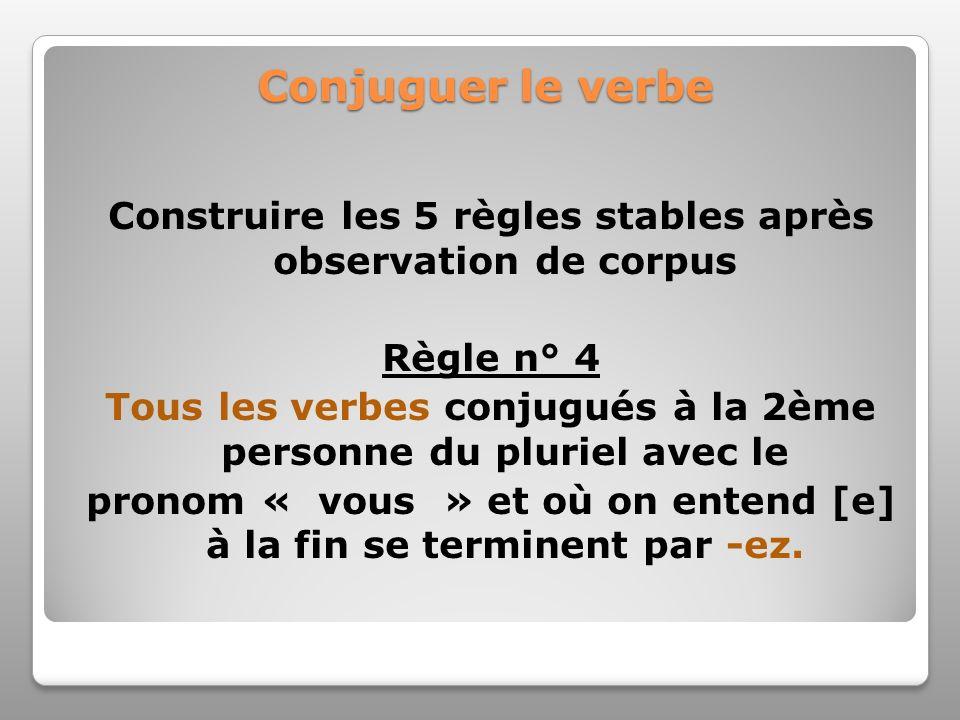 Conjuguer le verbe Construire les 5 règles stables après observation de corpus Règle n° 4 Tous les verbes conjugués à la 2ème personne du pluriel avec